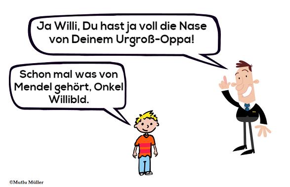 Klein Willi klärt Onkel Willibald über Mendelsche Regeln auf.